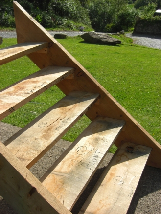 Oak treads and larch stringers