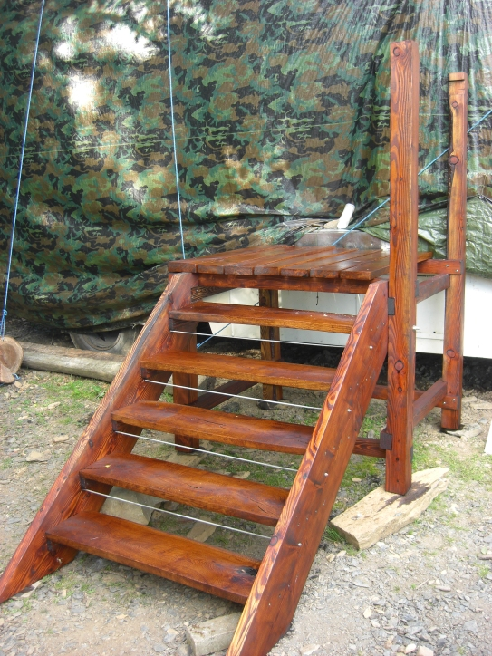The steps in their final position by the wagon