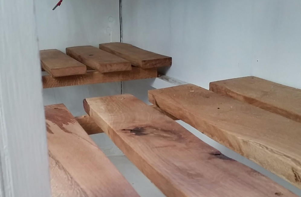 Oak shelving in the kitchen cabinets